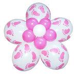Ballonnen bloem DIY roze babyvoetjes