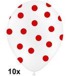 Polka dots ballonnen wit met rood