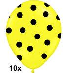 polka dots ballonnen geel-zwart