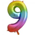 Folieballon cijfer 9, regenboog kleuren, 86 cm, 34 inch