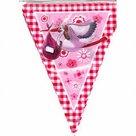 Vlaggenlijn geboorte meisje roze ooievaar