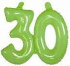 30-jaar-Opblaascijfer-Transparant-Lime-Groen