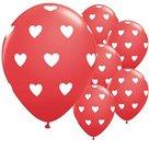 Ballon-Rood-met-hartjes-30-cm-10-stuks