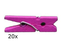 Roze/paars (roodviolet) Wasknijpers mini, 20 stuks