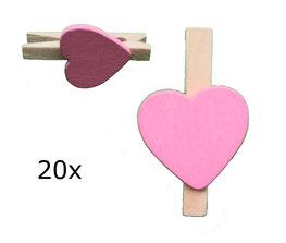 Naturel met roze hart Wasknijpers mini, 20 stuks