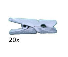 Zilver Wasknijpers mini, 20 stuks