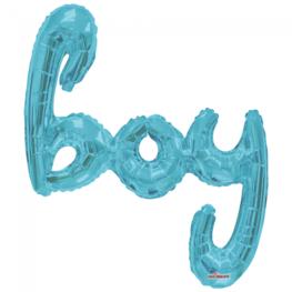XL Folieballon Boy (script), lichtblauw, 91 cm