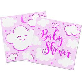 Baby Shower Servetten roze, 20 stuks