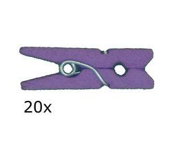 Paars:licht paars Wasknijpers mini, 20 stuks