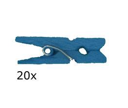 Blauw Wasknijpers mini, 20 stuks