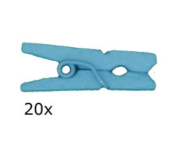 Blauw, lichtblauw Wasknijpers mini, 20 stuks