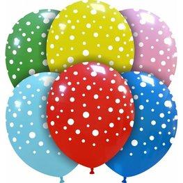 Multicolor polka dots mix Ballonnen, 10 stuks