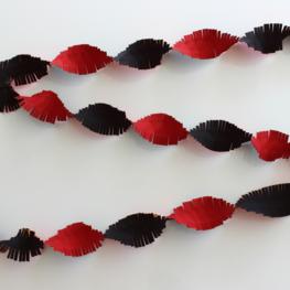 Guirlande crepe slinger rood/geel/zwart, 24 meter