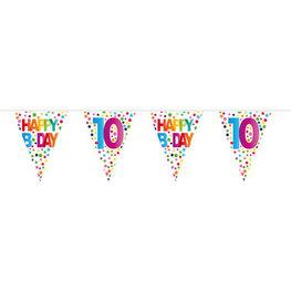10 jaar, Vlaggenlijn Stippen Happy Bday, 10 meter