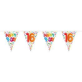 16 jaar, Vlaggenlijn Stippen Happy Bday, 10 meter