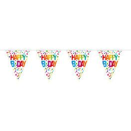 Vlaggenlijn Stippen Happy Bday, 10 meter