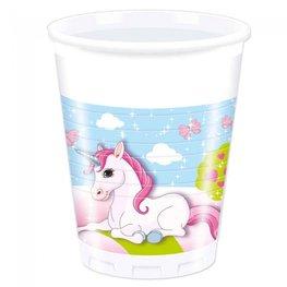 Unicorn bekers, plastic, 8 stuks, 200ml