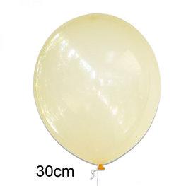 Geel crystal clear ballon (30cm)