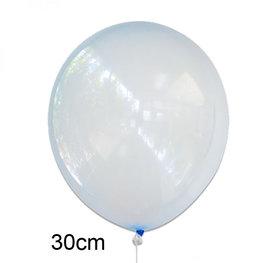 Blauw crystal clear ballon (30cm)