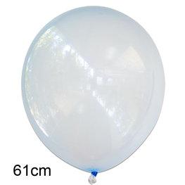 Blauw crystal clear ballon, XL (61cm)