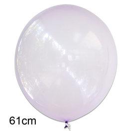 Paars crystal clear ballon, XL (61cm)