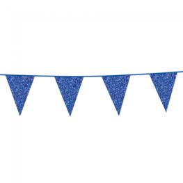 Blauw glitterslinger, 6 meter, 20x30