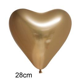 Goud Chrome Hart Ballon (28cm)