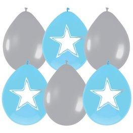Geboorte Stars ballonnen, blauw/zilver, 6 stuks, 30cm