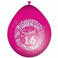 16 jaar Sweet Sixteen Ballonnen Pink, 8 stuks