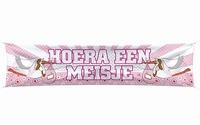 Straat banner Hoera een Meisje Ooievaar