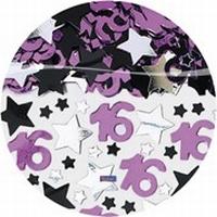 Tafeldecoratie sierconfetti Sweet Sixteen pink/zilver, 71 gram
