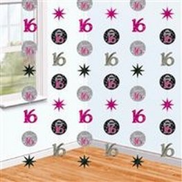 Sweet Sixteen sparkle hangdecoratie