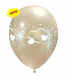 Ballon duif/hart parel wit