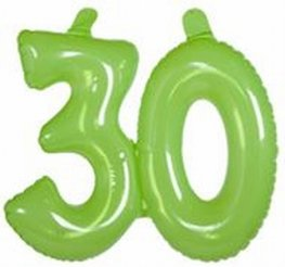 30 jaar, Opblaascijfer Transparant Lime Groen