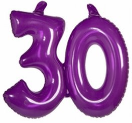 30 jaar, Opblaascijfer Transparant Paars