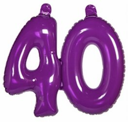 40 jaar, Opblaascijfer Transparant Paars