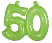 50 jaar, Opblaascijfer Transparant Lime Groen