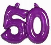 50 jaar, Opblaascijfer Transparant Paars