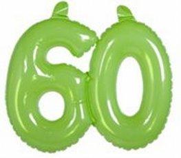 60 jaar, Opblaascijfer Transparant Lime Groen