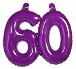 60 jaar, Opblaascijfer Transparant Paars