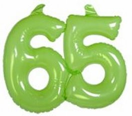 65 jaar, Opblaascijfer Transparant Lime Groen