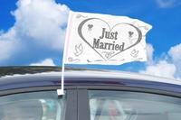 Autovlag wit 'Just married', 2 stuks