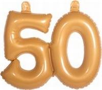 50 jaar, goud Opblaascijfer, incl. zuignapjes