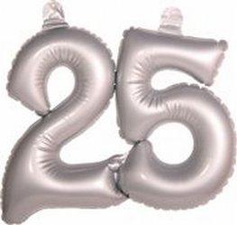 25 jaar, zilver Opblaascijfer, incl. zuignapjes