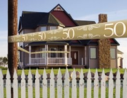 50 jaar, goud Afzetlint, 15 meter