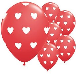 Ballon Rood met hartjes 30 cm, 10 stuks