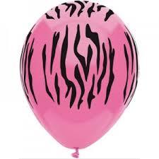 Pink met zebra print ballonnen, 10 st.