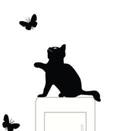 Sticker kat met vlinders