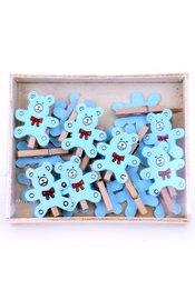 Naturel met blauw beertje Wasknijpertjes mini, 19 stuks