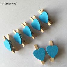 Naturel met blauw hart Wasknijpers mini, 20 stuks